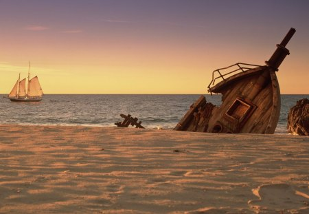 schooner off shore with ship wreck - beach, sunset, schooner, sea, ship wreck
