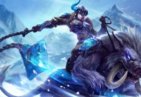 League of Legends - Classic Sejuani 2013 - update, brissle, traditional, visual, game, lol, sejuani, winter, cold, 2013, freljord, frejlord, LoL, VO, classic, blue
