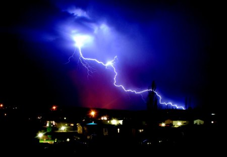 A Lighting Coming out of the Sky - Cool, Lighting, Blue, Falsh, Storm