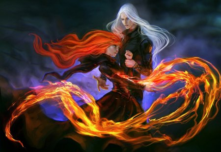 Evil Pair - redhead, white hair, evil, flame, anime, darkness, gloomy, anime girl, long hair, couple, team, pair, female, male, gloom, red hair, fire, boy, girl, blaze, dark, bad, sinister