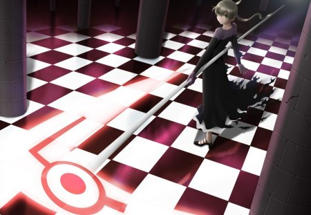 Maka Albarn - maka albarn, female, dress, hd, cg, checkers, maka, 3d, girl, anime, soul eater, anime girl, weapon, realistic, long hair