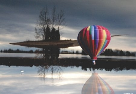 Unidentified Flying Island - Hot Air Balloon, Aircraft, Flying, Island