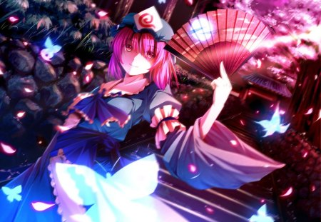 Night at the Shrine - dress, glow, sparks, staircase, stair, butterfly, anime, shrine, touhou, anime girl, night, short hair, girl, saigyouji yuyuko, dark, fan, pink hair