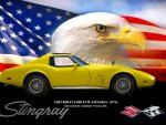 Gilbert's 1976 vette flag-eagle