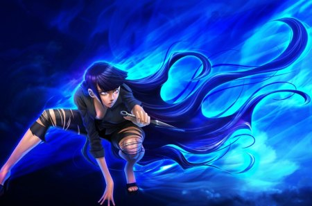 Hyuuga Hinata - hyuuga hinata, glow, naruto, naruto shippuuden, evil, angry, naruto shippuden, flame, anime, shippuuden, hot, anime girl, light, blue, ninja, shinobi, female, mad, sexy, cute, girl, hinata, shippuden