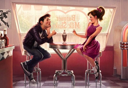First Date - date, man, woman, retro, milk shake, girl, milk bar, shake, milk, first, vintage