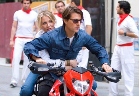 Knigh and day (2010) - red, movie, glasses, blonde, man, cameron diaz, woman, tom cruise, knight and day, people, bike, white, actor, blue