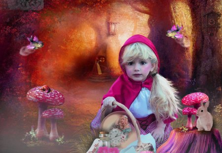 Red Riding Hood Meets Alice Fantasy Abstract Background