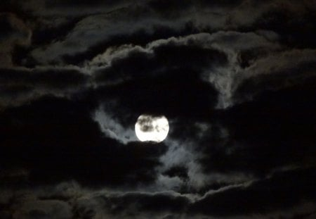 Tucked in Moon - cloud, moon, clouds, night