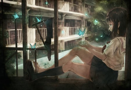 Killing time - female, girl, anime, manga, butterflies