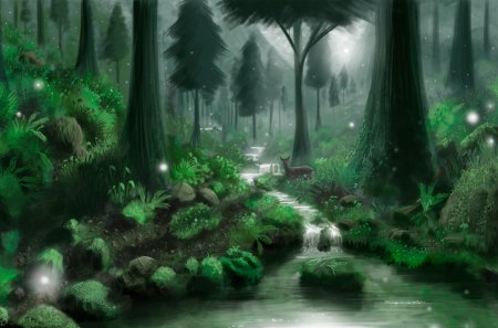 Green Forest - Drawings, Scenery, Plants, Grass, Forests, Insects, Water, Trees, Stream, Deer, Landscapes, Digital Art, Flowers, Animals, Paintings