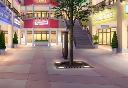 Super Market - shop, hd, house, scenic, stall, supermarket, sceene, building, anime, scenery, light