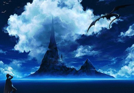 Land Of The Dragons!!! - Boy, Anime, Land, Mountain, Blue Sky, Water, Dragon, kimagure, Cool, Clouds, ryou, Awesome, Original