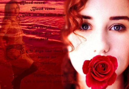 Blood Rose - beach, red rose, waves, lady