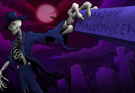 Happy Halloween - sign, halloween, headstones, graveyard, skeleton, full moon