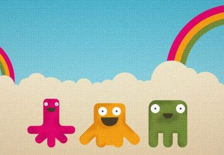 happy monsters - colors, rainbows, monster, happy