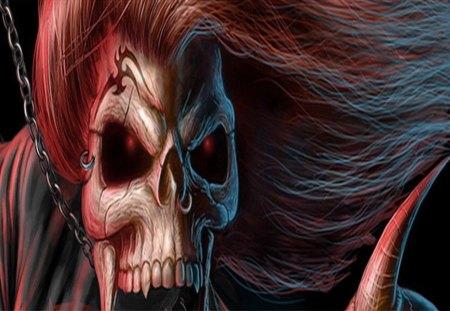 evil skull - reaper, skull, fantasy, dead, bone, scary, dark, evil