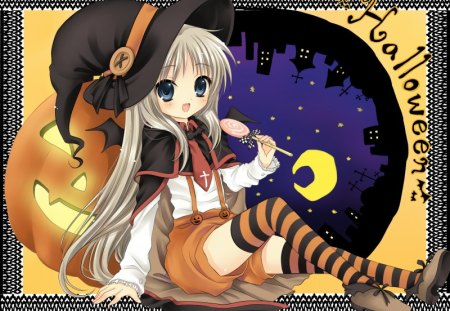Noumi in Cosplay - anime little busters, witch, cosplay, halloween, pumpkin, noumi