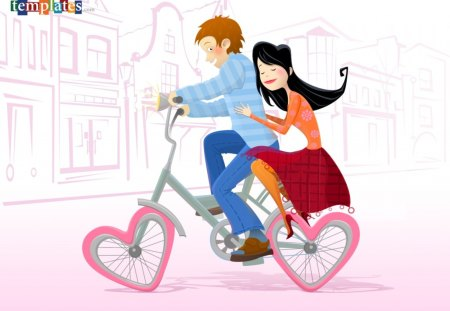 Love on bicycle