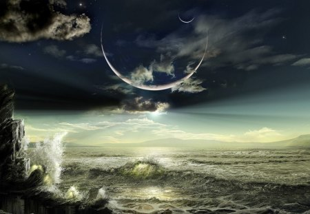 The Eclipse  - water, fantasy, nice, eclipse