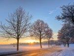 sunrise in a winter landscape
