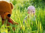 Teddy bear and boy