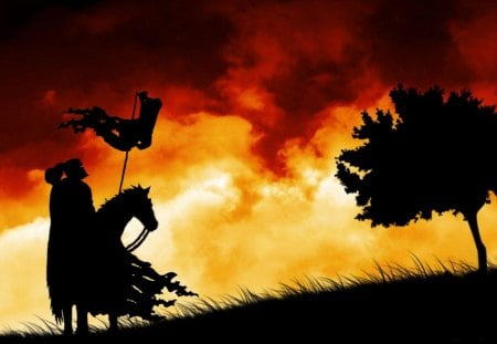 Knight and Steed Silhouette - cloud, war, sunset, horse, silhouette, flag, tree, warrior, battle, medieval, helmet, sunrise, weapon, sword, knight