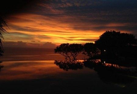 Bali sunset - sunset, villa, Bali, Bvlgari