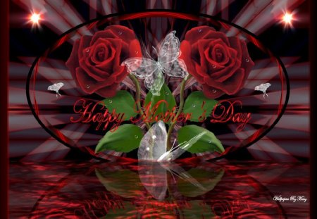 Mother's Beauty 1024x768 - Water, Butterflies, RedRoses, MomsDay, Rose, Roses, MothersDay