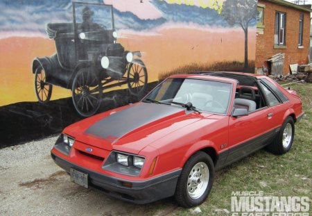 1985 Ford Mustang GT - T-tops, Gt, Red, Ford