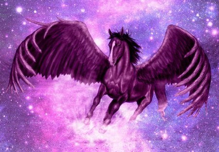 Pegasus - stars, wings, horse, sky, animal, fly, fantasy, pegasus, purple, feather, pink, creature, blue