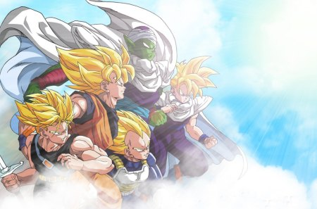 Z Fighters - goku, dbz, gohan, piccolo, son gohan, songo, z fighters, sky, trunks, dragon ball z, son goku, dragon ball, anime