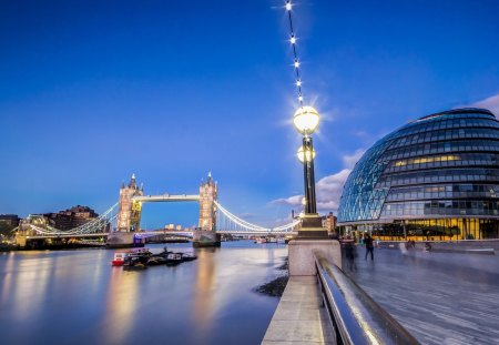 London - architecture, thames, buildings, bridges, tower bridge, beautiful, tower bridge london, sky, lights, united kingdom, london, rivers, blue
