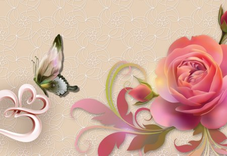 Pink rose hearts flowers nature background wallpapers - Pink roses and hearts wallpaper ...