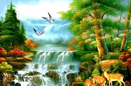 PARADISE - forest, paradise, painting, birds, deers, waterfalls