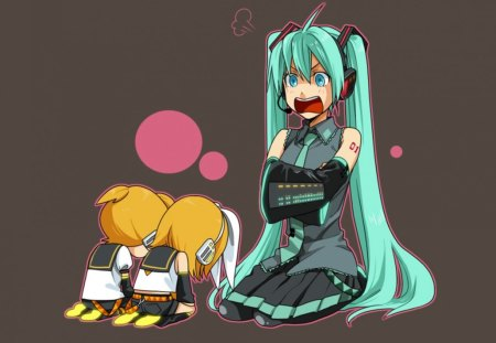 You're In Big Trouble!! - vocaloid, hatsune miku, anime, mad, trouble, angry, rin and len kagamine