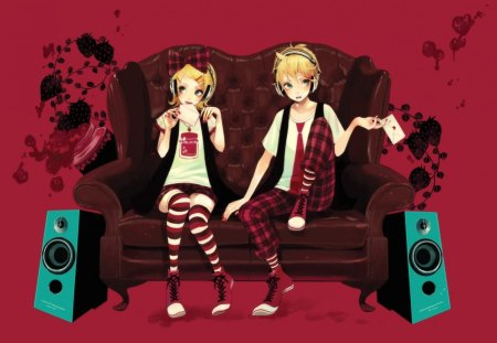 Len & Rin Kagamine - vocaloid, len and rin kagamine, strawberry jam, anime, letters, couch, speakers