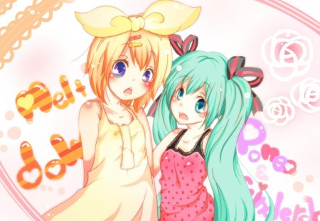 Melt Down!! - vocaloid, colorful, hatsune miku, anime, upset, rin kagamine, friends