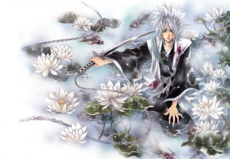 Toshiro Hitsugaya - lotus, zanpakuto, toshiro, guy, white hair, toshiro hitsugaya, floral, hitsugaya, blade, hitsugaya toshiro, anime, handsome, weapon, sword, bleach, male, gotei, blood, captain, short hair, pond, boy, shinigami, soul reaper, katana, soul society, flower, lily, hyorinmaru