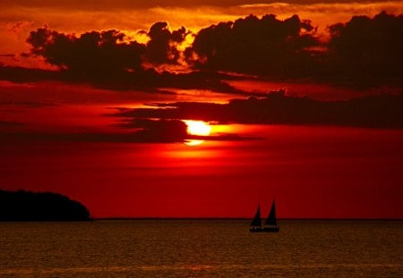 SUNDOWN SCENERY - ships, sunset, sky, sea
