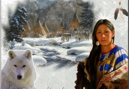 Native and a Wolf - predator, snow, artwork, winter