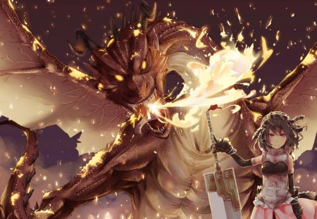 Fire Dragon Girl - Other & Anime Background Wallpapers on ...