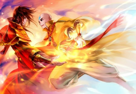 Aang vs Zuko - hd, guy, zuko, avatar, avatar the last airbender, fantasy, flame, anime, bender, handsome, hot, male, aang, sexy, cute, fire, boy, cool, warrior, blaze, magical, fight, avatar legend of aang