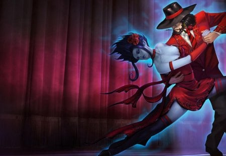 Evelynn & Twisted Fate - games, rose, video game, game, video games, thigh highs, league of legends, twisted fate, dance, evelynn