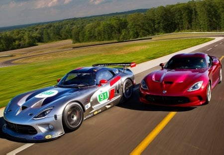 Two Fast Snakes - cars, gts, SRT, viper, race car, fast, gts-r