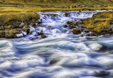 fantastic rapid river - rocks, river, rapids, grass