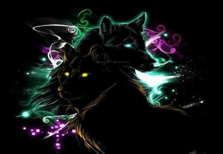 Neon wolves fantasy abstract background wallpapers on - Neon animals wallpaper ...