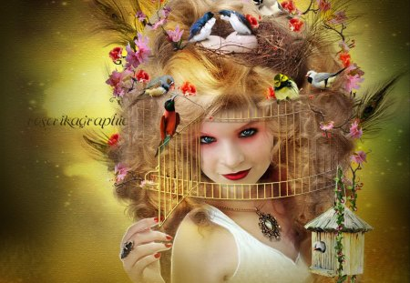 ~Weird Hairstyles~ - pretty, colorful, hairstyles, digital art, women, Peacock feathers, hair, fantasy, photomanipulation, bright, flowers, face, girls, animals, female, models, lovely, colors, birds, trees, lips, cute, cool, weird, cage, plants, weird things people wear, lady, eyes, fashion