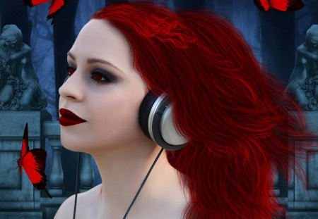 ✫My Music✫ - red, pretty, colorful, redhead, beautiful, digital art, women, hair, fantasy, photomanipulation, emotional, bright, girls, headphone, animals, female, lovely, model, music, colors, butterflies, attractive