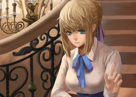 Saber - saber, dress, blond, hd, cg, green eyes, staircase, stair, fate stay night, anime, hot, anime girl, realistic, long hair, shirt, female, ribbon, blonde, blonde hair, blouse, sexy, blond hair, cute, 3d, girl